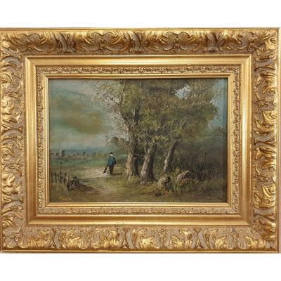 Chérubino Pata ( 1827 - 1899 ) Collaborateur Gustave Courbet Huile Sur Panneau Retour Ballade