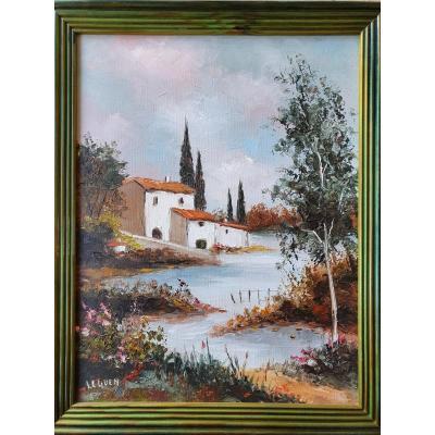 Tableau Maison au bord de l eau Signé Le Guen