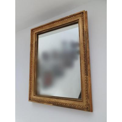 Miroir XIXE Siecle Doré à L Or Fin 37 X 47 Cm