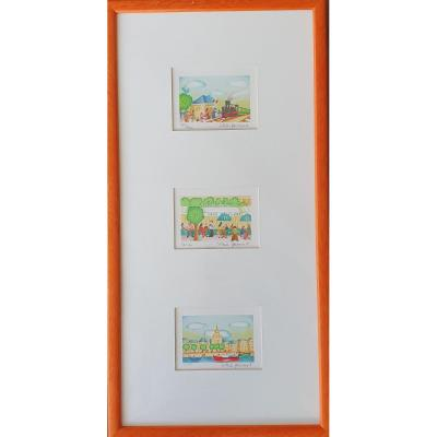 3 Lithographies Valérie Hermant Numérotées Et Signées 26.5 Cm X 52 Cm