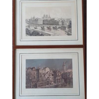 2 Lithographies Hoffbauer-Vues De Notre Dame 1621 Et 1878. 150e pour les 2 - Livraison Offerte