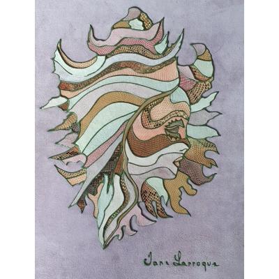 Jane Larroque Superbe Pièce Décorative 50 X 40 Cm Patchwork de Cuirs 1970