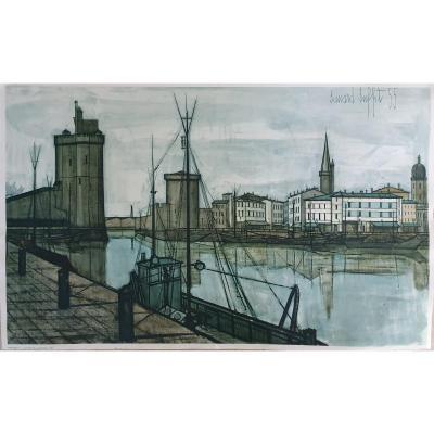 Bernard Buffet - Le Port De La Rochelle 1955 - Lithographie 60 X 96 Cm