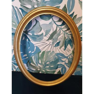 Oval Frame In Gilded Wood. Size: 58.5 X 48.5 Cm