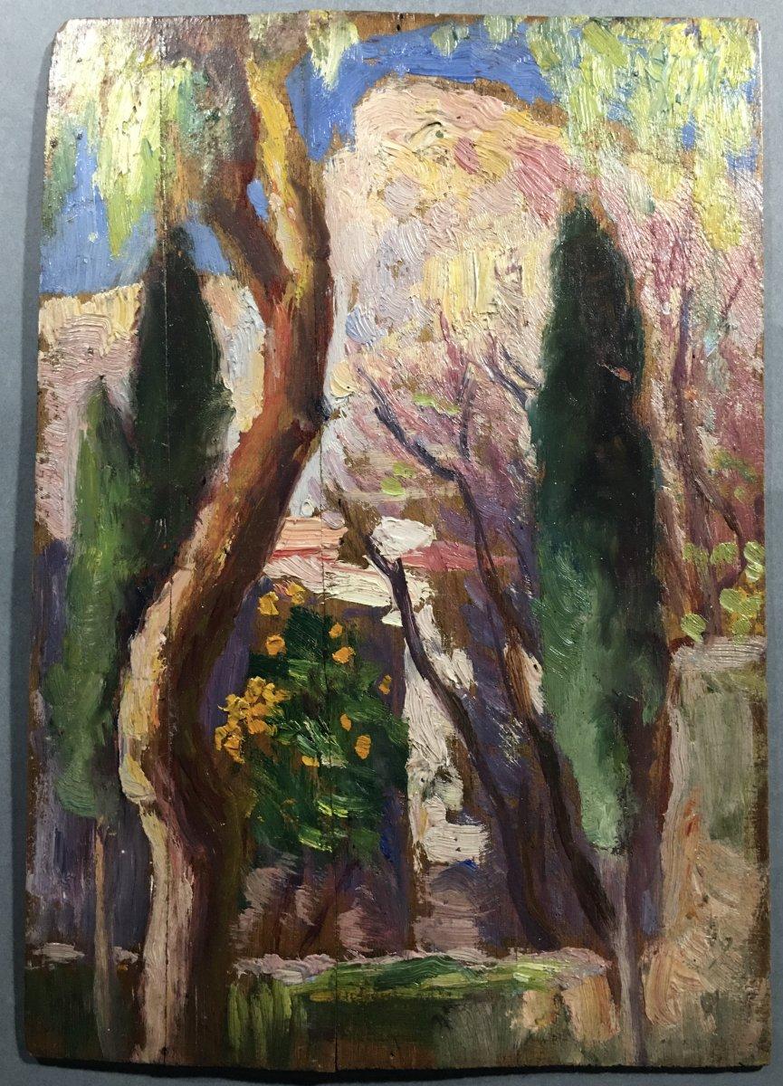 Hans Garnjobst ( 1863-1955) Vue De Jardin, Huile Sur Panneau