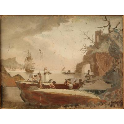 Fishing Scene, Fixed Under Glass Eighteenth Germany In Its Original Frame