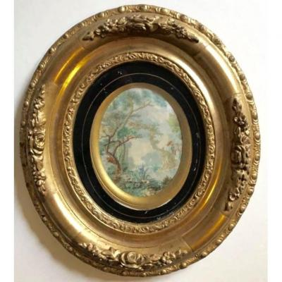 In An Oval Frame Gilded With Leaf, Around 1850-60, Painting On Silk In The Rocaille Taste