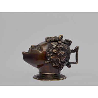 Lampe à Huile - Tête De Satyre, dans le goût de Bottega di Severo da Ravenna  Italie XVIe Siècle