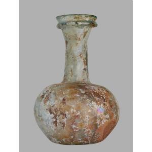 Art Romain, IIe- IIIe Siècle Bouteille en verre Irisé