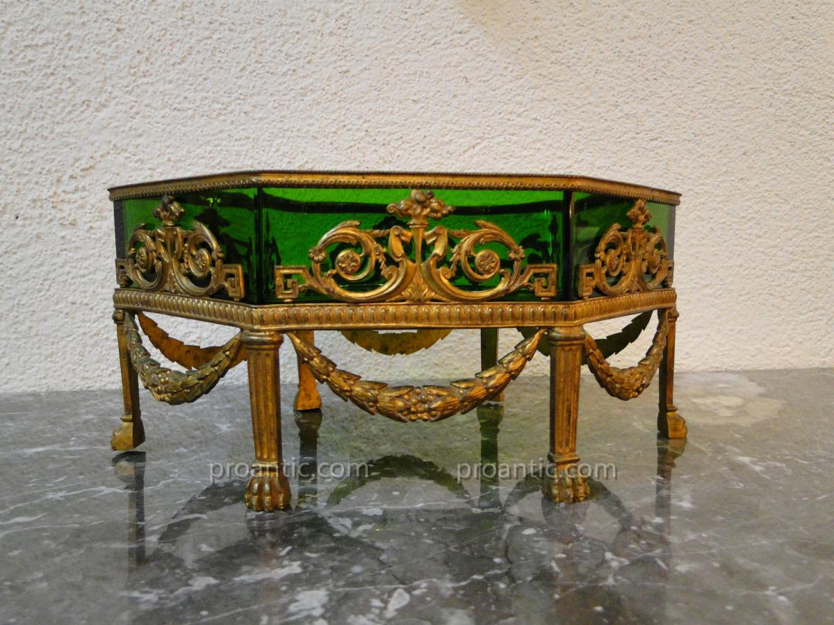 Jardiniere Empire Center Table Bronze And Crystal XIX