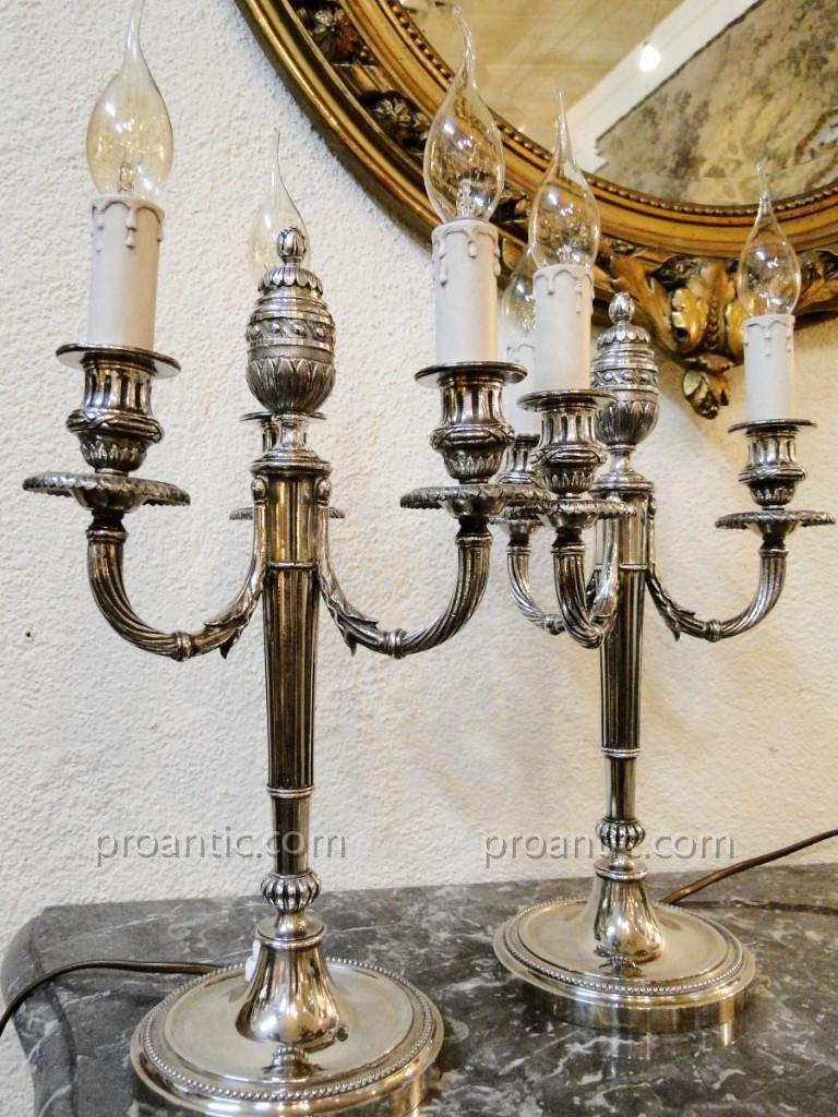 Paire De Lampes Chandeliers Metal Argente Style Louis XVI