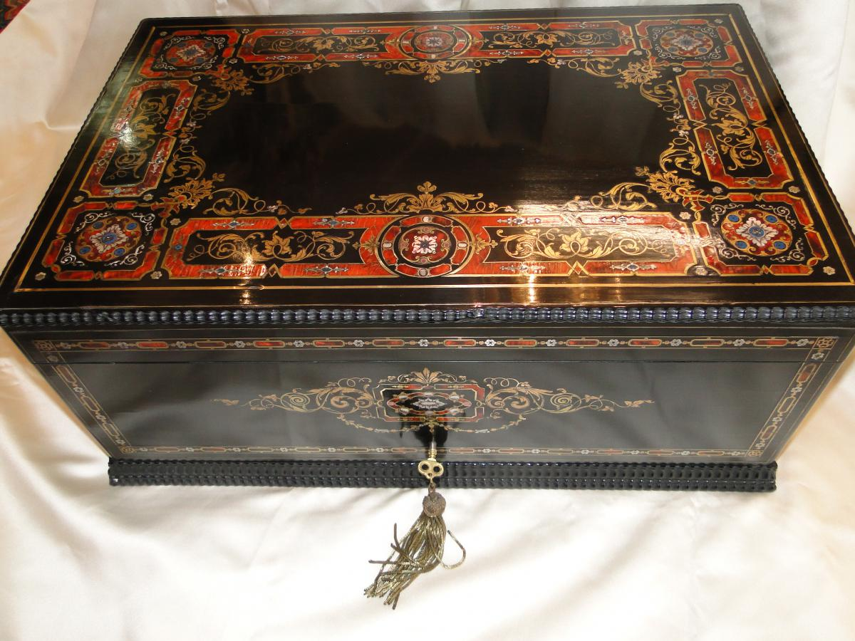 Grand Coffre Napoleon III En Marqueterie Boulle