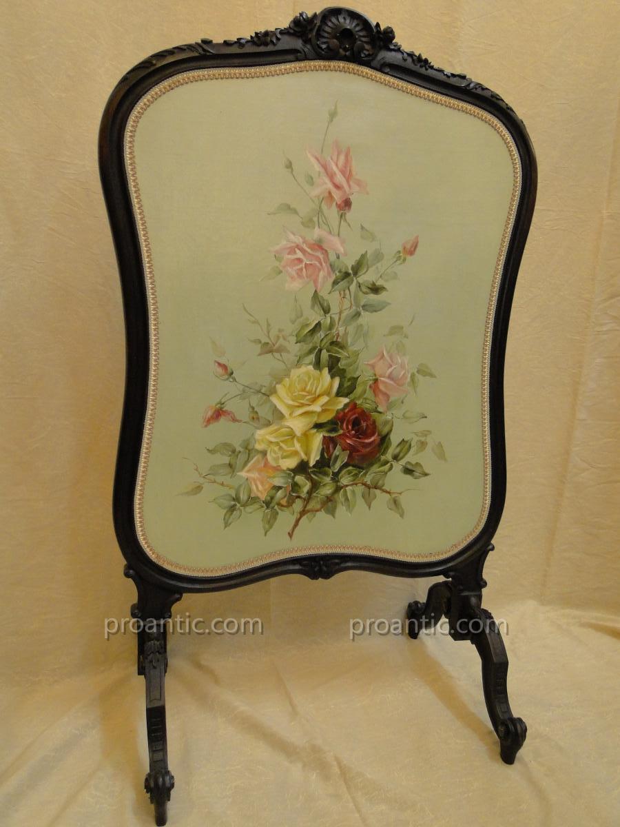 Pare Feu d'Epoque Napoleon III Orne d'Un Bouquet De Roses
