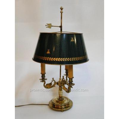Lampe Bouillotte Aux Cygnes De Style Empire A 3 Feux Bronze Dore