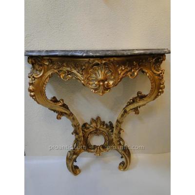 Console En Bois Sculpte Et Dore d'Epoque Louis XV XVIIIeme