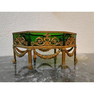 Jardiniere Surtout De Table Empire Bronze Et Cristal XIXeme