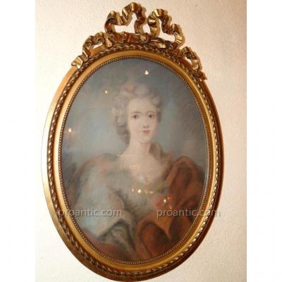 Pastel XIXeme Portrait Dame De Qualite Cadre Bois Dore