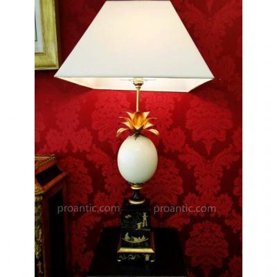 Paire De Lampes  Oeuf d'Autruche Lampe Ananas