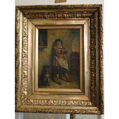 l'Aubergiste Peinture Flamande XVIIIeme Huile Sur Toile Cadre Dore