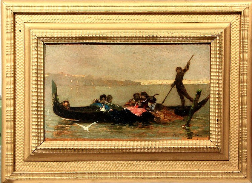 Wilheim Kotarbinsky (1849 -1821) Venetian Serenade, Oil On Panel 14 X 23 Cm