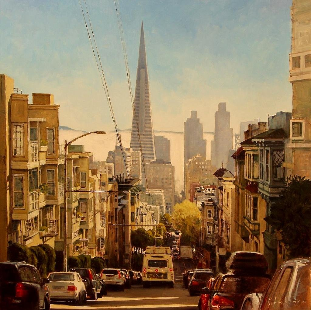 "Oil On Panel By Pascal Amblard ""transamerica Tower"" 80 X 80"
