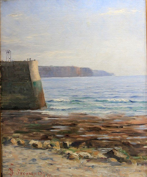Impressionist Oil On Canvas, Normandy Cliffs, Fecamp 1891