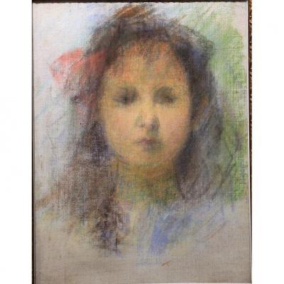 Impressionist Pastel, Portrait Of Girl