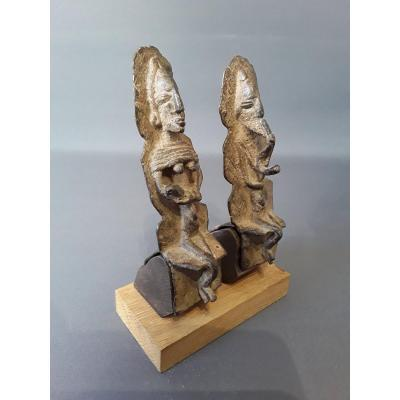 Couple Of Dogon Statuettes In Bronze