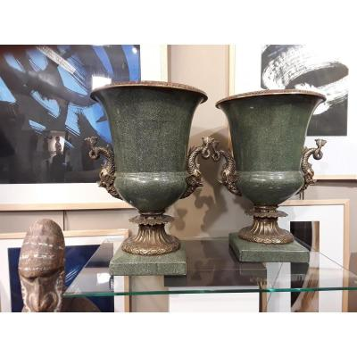 Pair Of Medici Earthenware And Bronze Vases