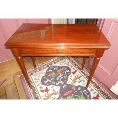 Table à Jeu en Acajou, Tout Début XIXème.