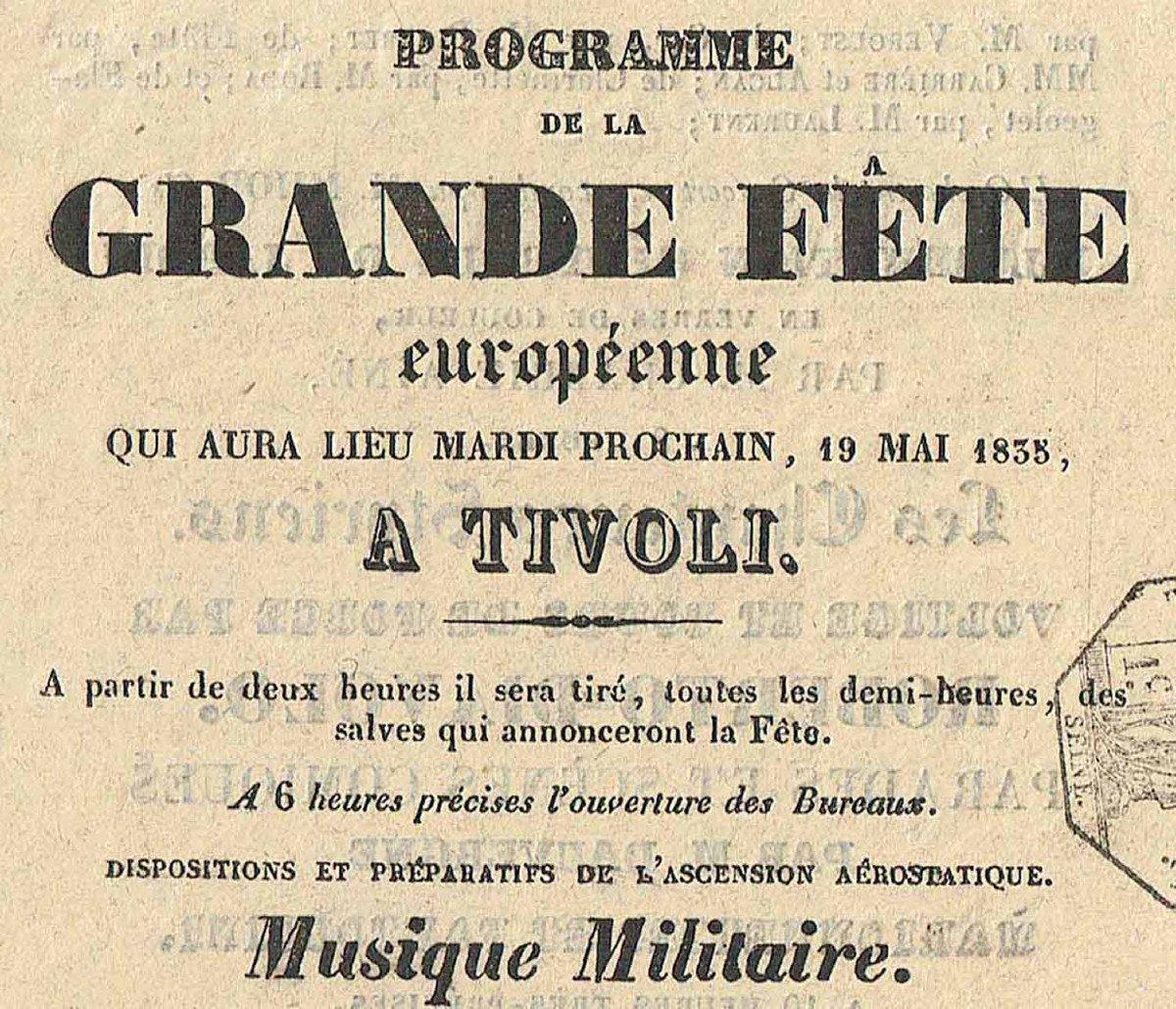 Programme FÊte Tivoli 1835  -photo-3