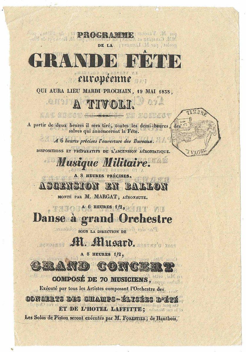 Programme FÊte Tivoli 1835