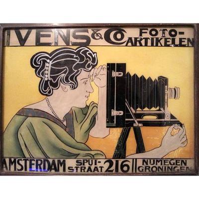 Peinture sur verre publicité magasin de photo 1899