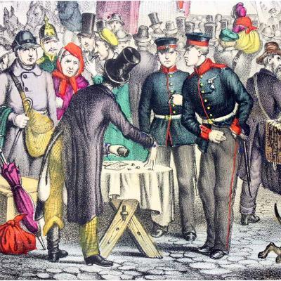 JEU DE CUBES 1850 MAGICIEN ESCAMOTEUR