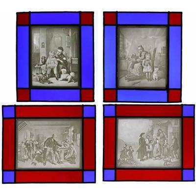 2 PAIRES de LITHOPHANIES vitrail vers 1860