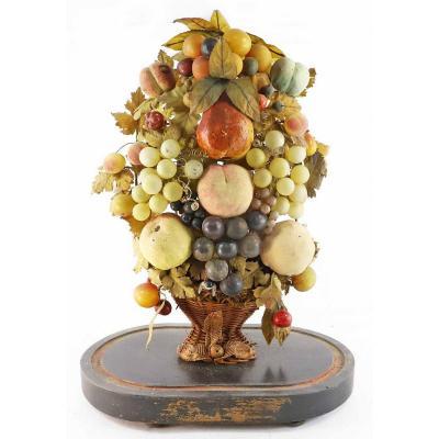 BOUQUET DE FRUITS  trompe-l'oeil XIX ème