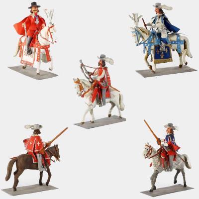 Figurines Pierre ALEXANDRE : LOUIS XIII et  RICHELIEU  et 3 gardes
