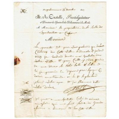 LETTRE de CASTELLI PRESTIDIGITATEUR 1822