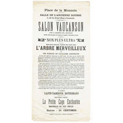 AFFICHE  de MAGIE SALON VAUCANSON   vers 1870