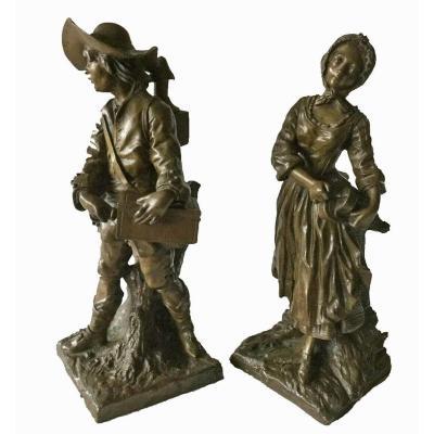 LE COUPLE DE COLPORTEURS  bronzes  Jean LAVERGNE 1852 – 1901