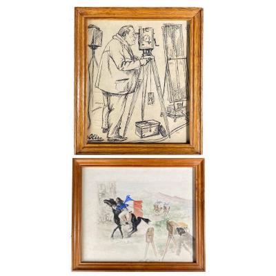 David OLERE  1902 - 1985 : Ernst LUBITSCH + AQUARELLE