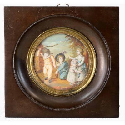 MINIATURE IVOIRE ENFANTS AUX TOTONS  XIXème.