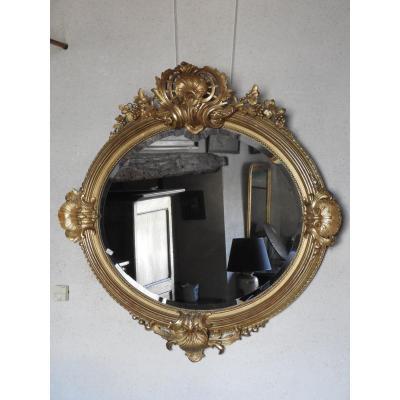 Miroir Louis XV Ovale  En Bois Doré