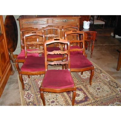 Lot de 6 chaises fond tissu rouge en acajou
