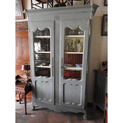 Armoire Bibliothèque peinte Louis XV