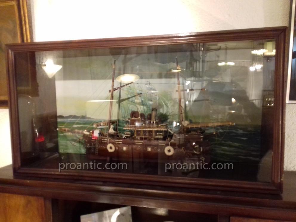 Marine Curiosité Grande Maquette Bateau Diorama Vitrine