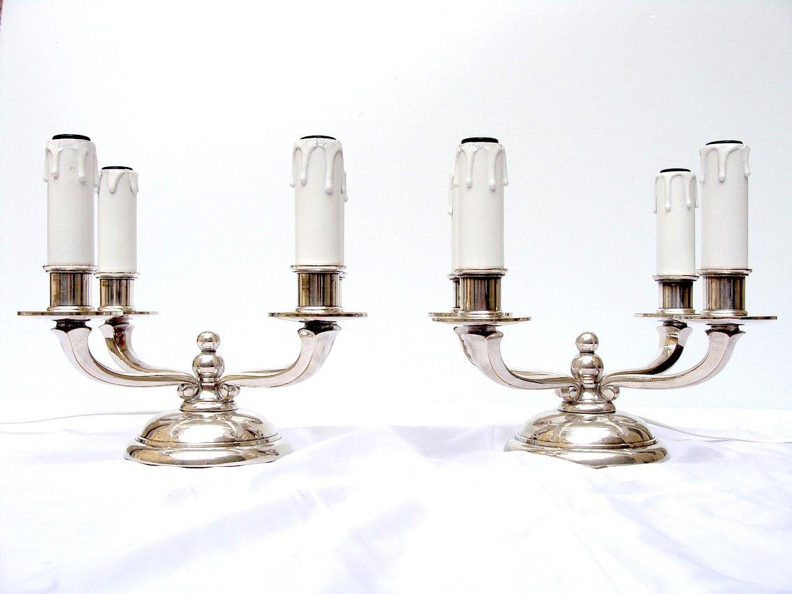 Paire Lampes Art Deco 1930 Bronze Argente Chandeliers Bouts De Table Electrifies