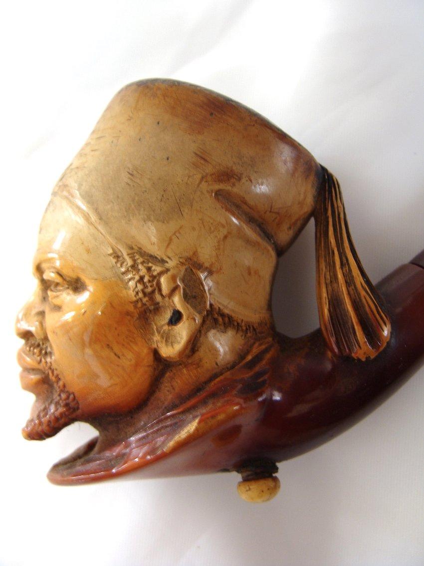 Pipe En Ecume De Mer 'tirailleur Sénégalais' 19° Napoleon III Curiosité Afrique Africain