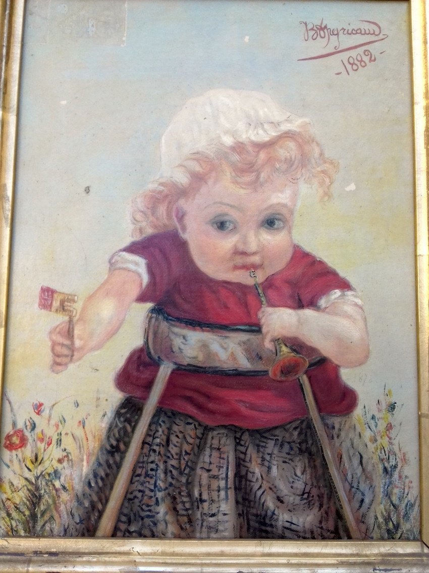 Curiosity - 19th Painting Little Girl With A Strange Face Portrait Signed Peyricaud Dated 1882