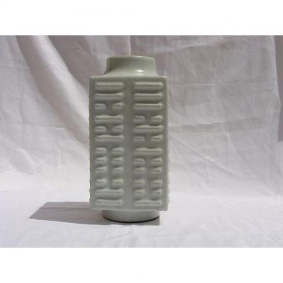 CHINE Vase Chinois Email Celadon - Forme Cong Marque Guangxu